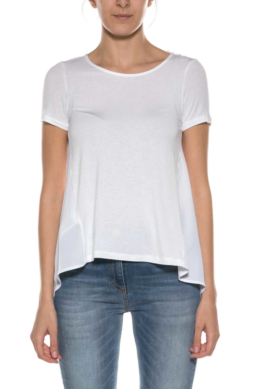 DONDUP-T-SHIRT CON SPACCO SULLA SCHIENA-DDS777JS0215 BIA